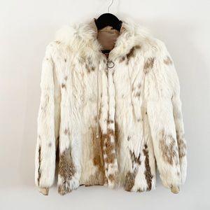 Hooded Vintage Rabbit Fur Coat